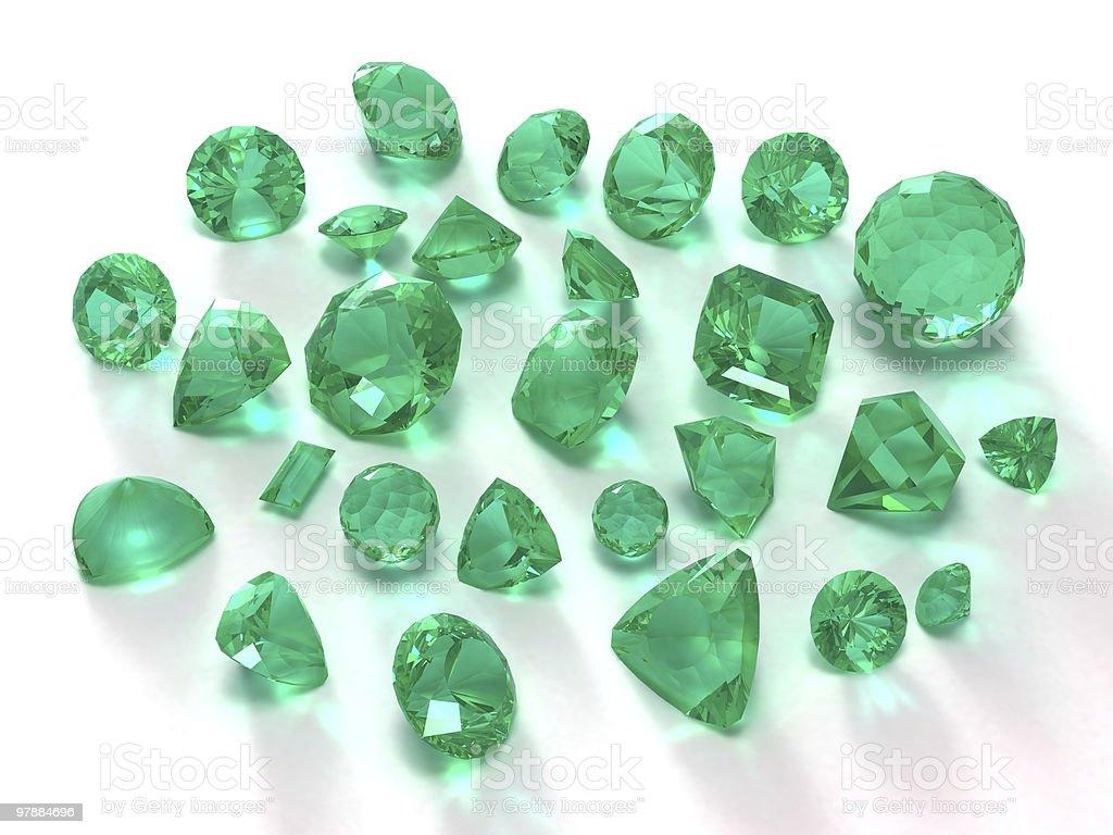Emerald gems stock photo