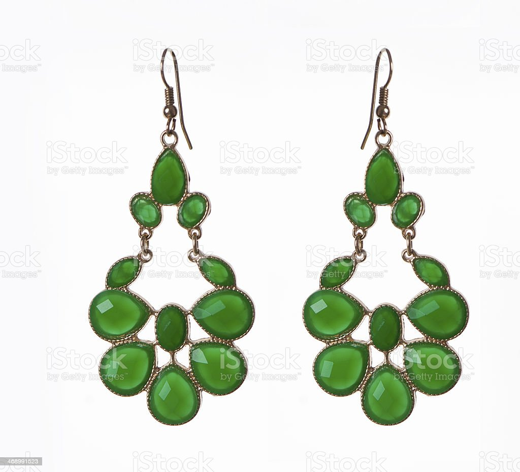 Emerald Gold Earrings stock photo