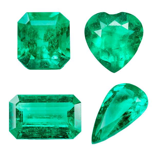 Emerald isolated on white background Emerald isolated on white background stone object stock pictures, royalty-free photos & images