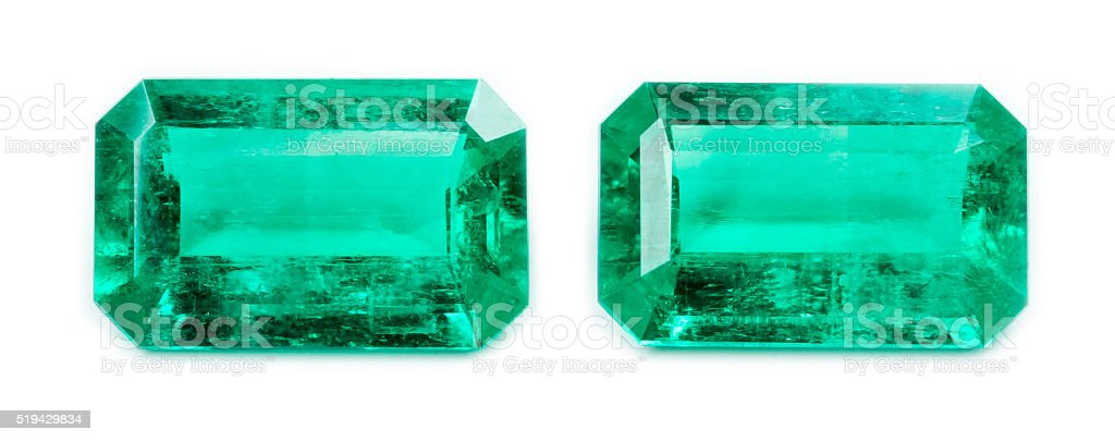 Emerald isolated on white background stock photo