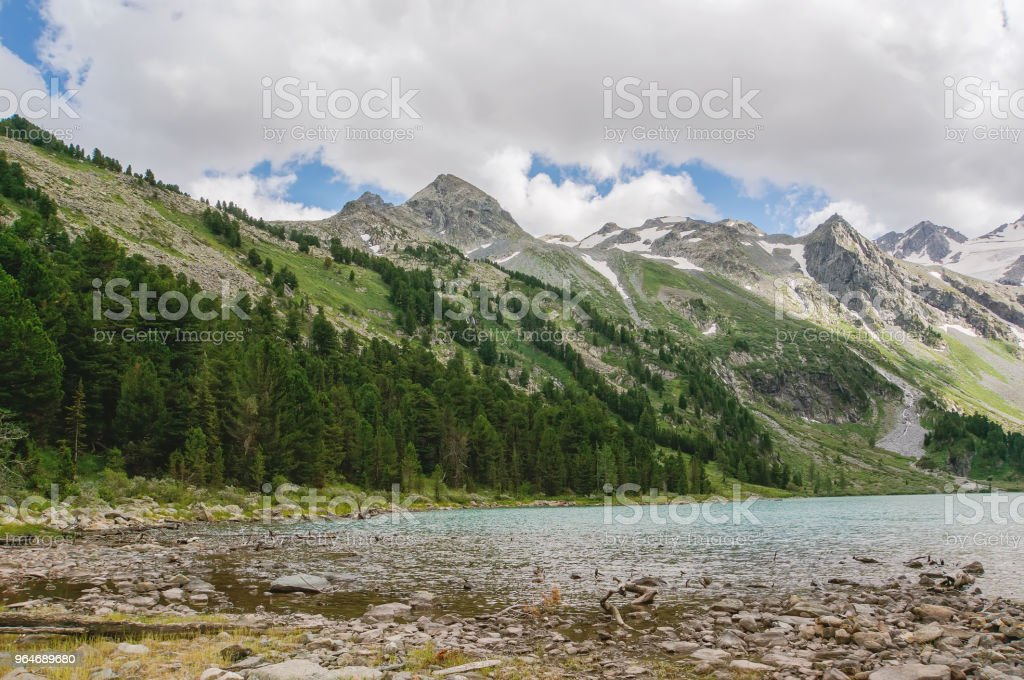 Emerald lake and Rocky Mountains royalty-free stock photo