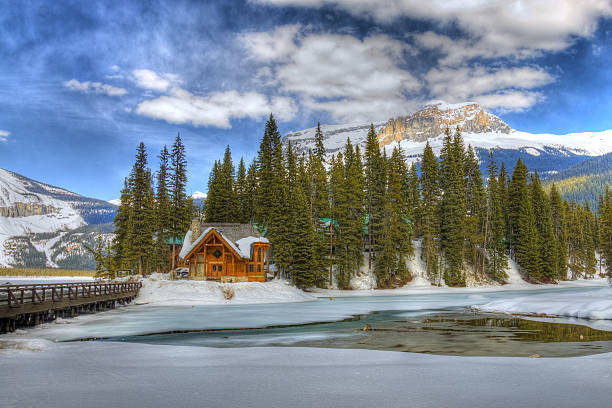 HDR Emerald Lake, Canadian Rockies stock photo