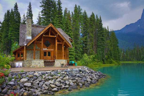 Emerald Lake on a cloudy day with its thawed lake. Summer and fun. Rocky mountain canada (Canadian Rockies). Portrait, fine art. Yoho National Park, British Columbia, Canada: August 3, 2018 stock photo