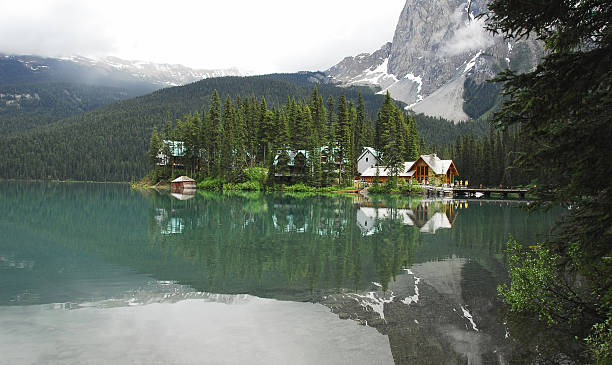 Emerald Lake Beautiful lake with lodge in British Columbia,Canada. emerald lake stock pictures, royalty-free photos & images