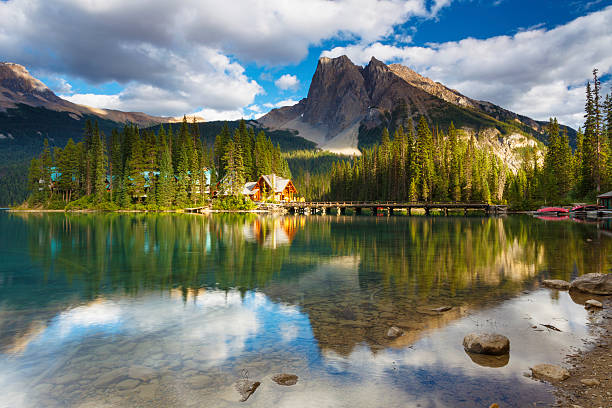 "Emerald Lake ""Late afternoon light at Emerald Lake, in the spectacular Canadian Rockies, with Mt. Burgess in the backdrop. Yoho National Park, British Columbia, Canada."" emerald lake stock pictures, royalty-free photos & images"