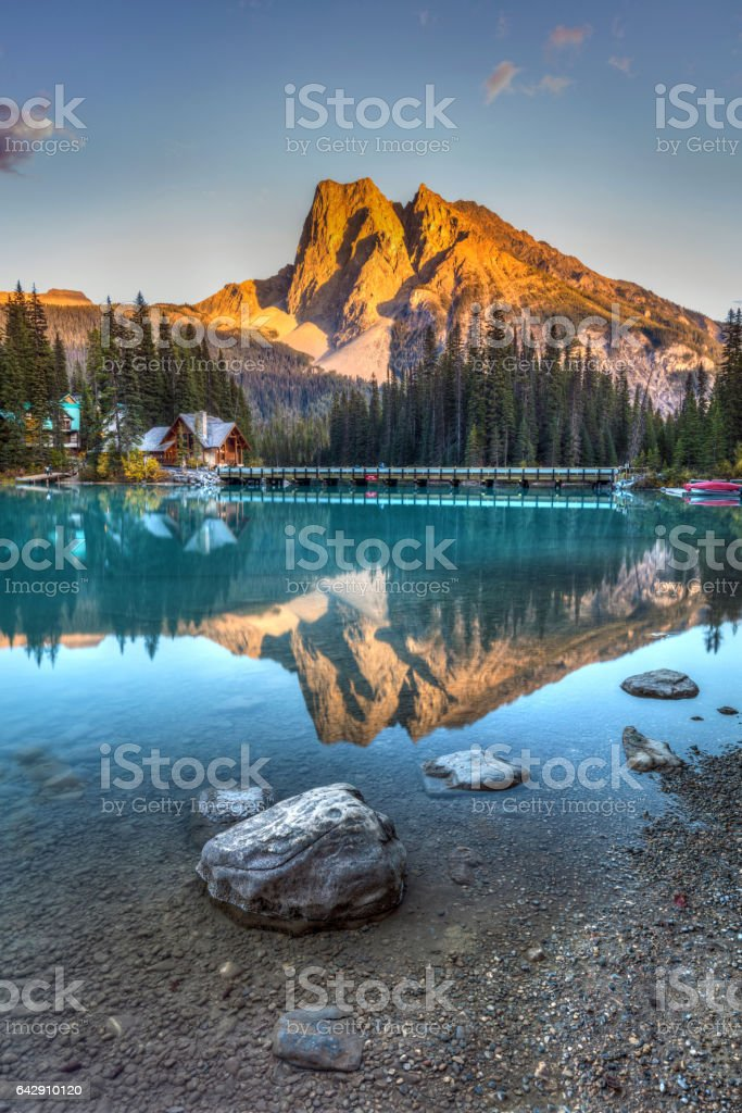 Emerald Lake Sunset Emerald Lake Sunset in Yoho National Park, British Columbia, Canada Beach Stock Photo