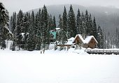 Frozen and snow covered lake in Yoho National Park,Canada.
