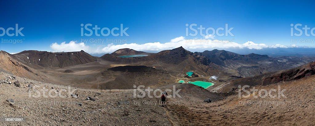 Emerald lakes, Tongariro national park stock photo