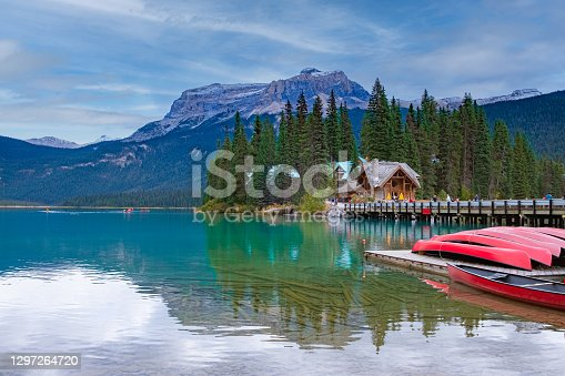 istock Emerald Lake,Yoho National Park in Canada, Emerald Lake and Tea House, Near Field, British Columbia, Yoho National Park, Canada Mount Burgess can be seen reflected into the water 1297264720
