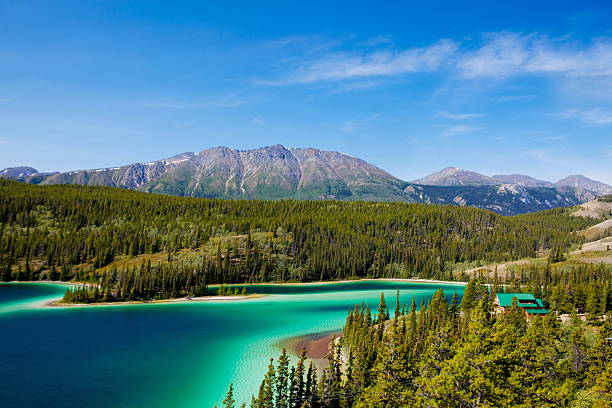 Emerald Lake,Yukon Canada A wide view of Emerald Lake from an adjacent highway...Yukon,Canada emerald lake stock pictures, royalty-free photos & images
