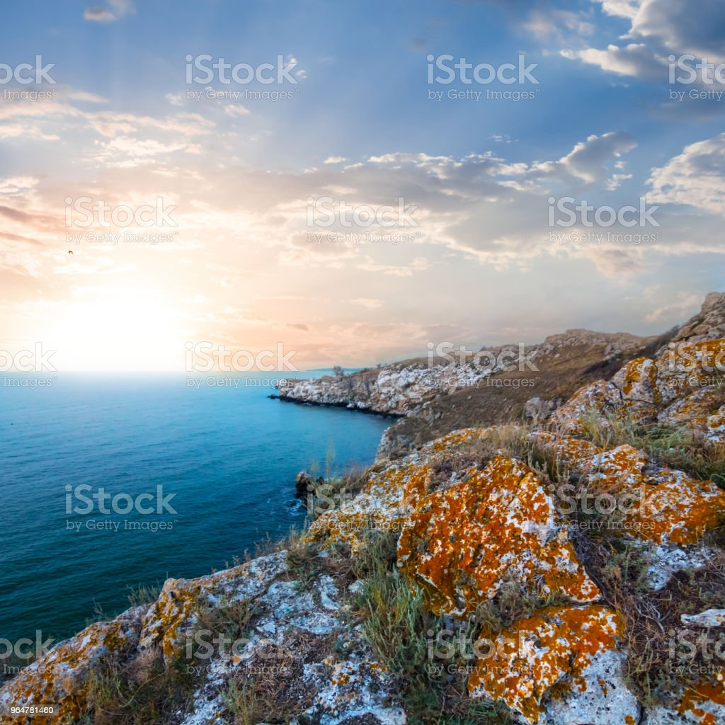 emerald marine bay at the sunset royalty-free stock photo