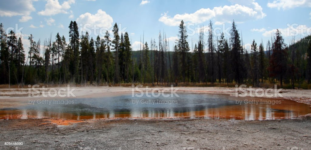 Emerald Pool hot spring in the Black Sand Geyser Basin in Yellowstone National Park in Wyoming USA stock photo