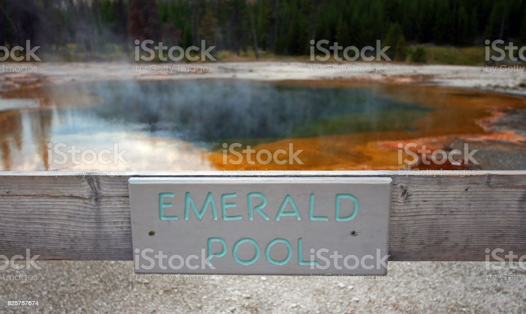 Emerald Pool hot spring sign in the Black Sand Geyser Basin in Yellowstone National Park in Wyoming USA stock photo