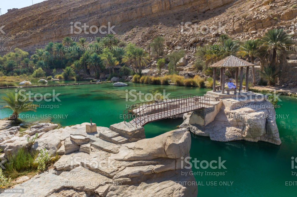 Emerald pools in Wadi Bani Khalid, Oman stock photo