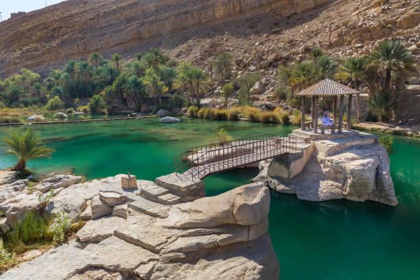 Emerald pools in Wadi Bani Khalid, Oman WADI BANI KHALID, OMAN - NOVEMBER 26, 2017:  A man relaxes at the amazing view of the emerald pools in Wadi Bani Khalid, Oman riverbed stock pictures, royalty-free photos & images