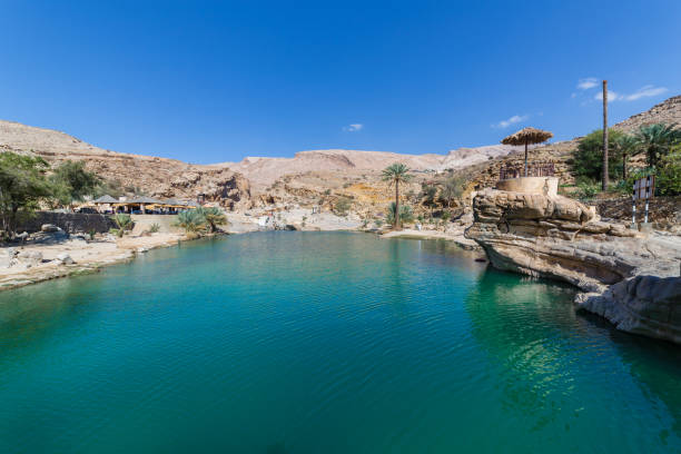 Emerald pools in Wadi Bani Khalid, Oman View of emerald pools in Wadi Bani Khalid, Oman riverbed stock pictures, royalty-free photos & images