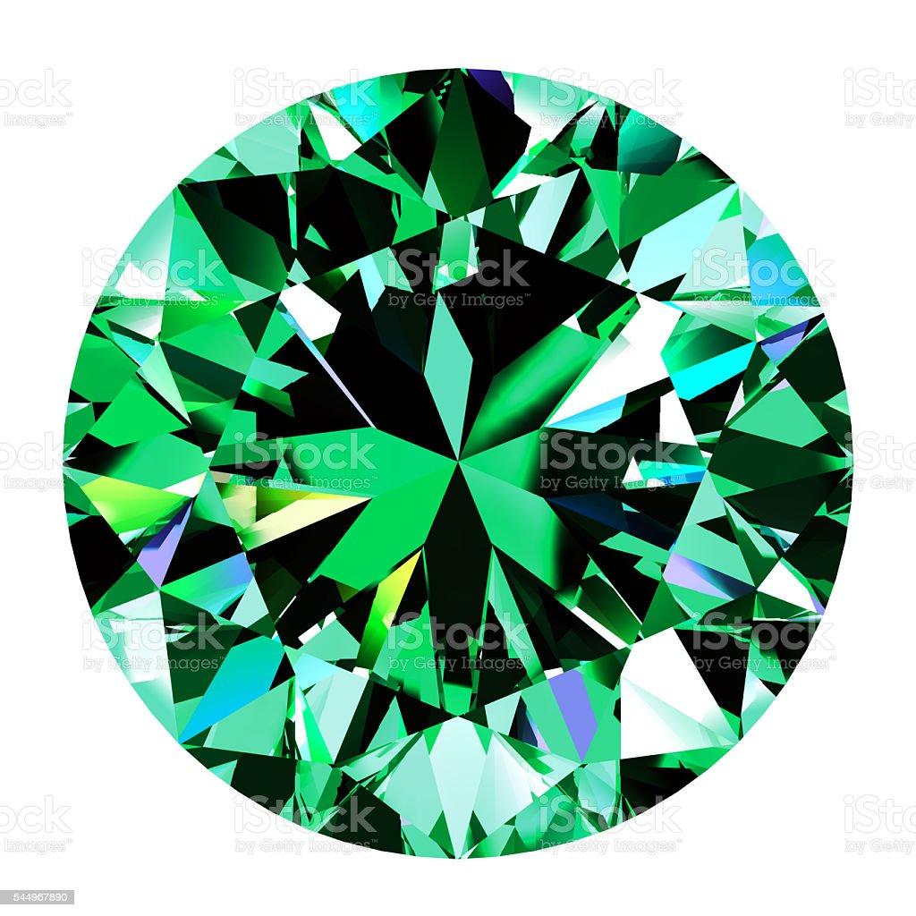 Emerald Round Over White Background stock photo