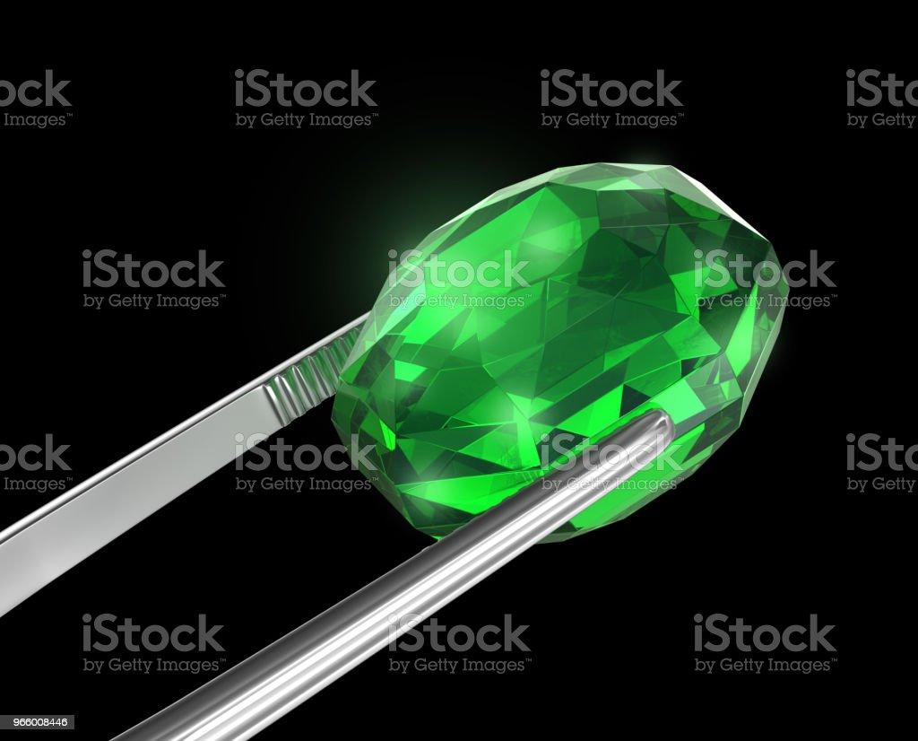 Emerald Seen close-up met een pincet, 3D illustratie - Royalty-free Close-up Stockfoto