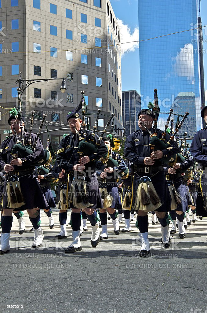 NYPD Emerald Society Pipes and Drums in 9-11 Memorial Ceremony royalty-free stock photo