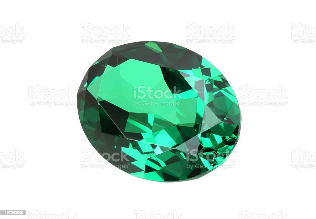 Emerald Stone in Oval royalty-free stock photo