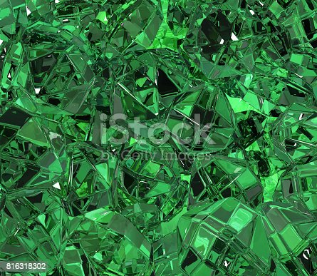 Emerald green material surface abstract 3d illustration, horizontal background