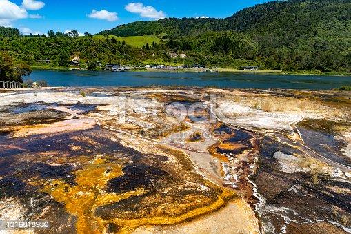 istock Emerald Terrace, Orakei Korako Geothermal Park & Cave at Hidden Valley, Taupo, New Zealand 1316818930