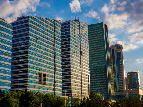 Emerald Towers, Nur-Sultan, Kazakhstan stock photo