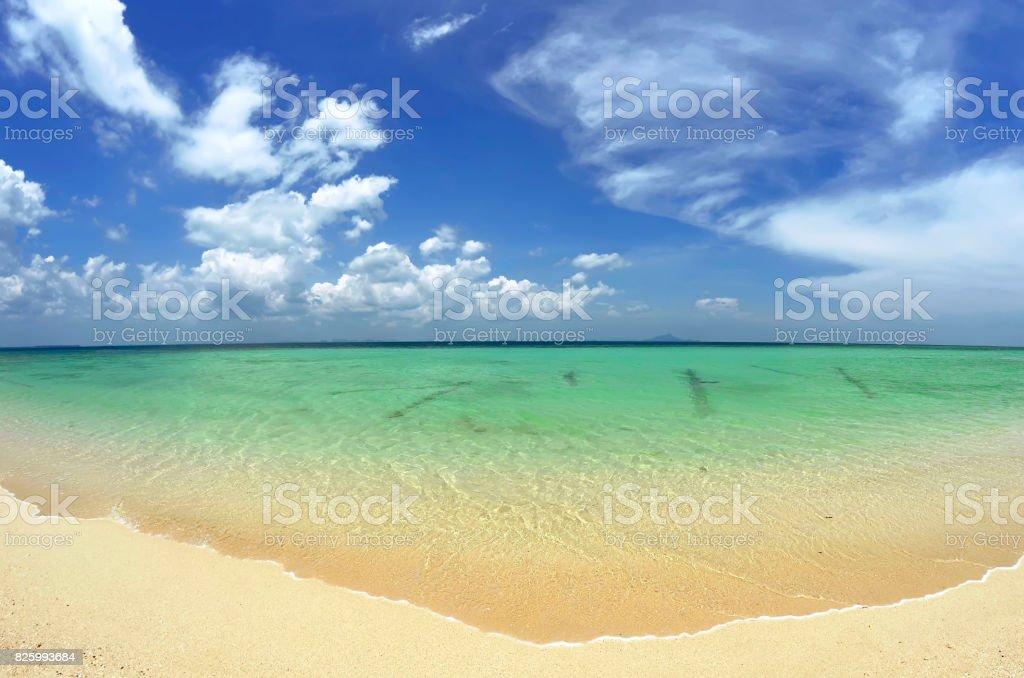 Emerald water of the Andaman Sea at Poda island beach stock photo