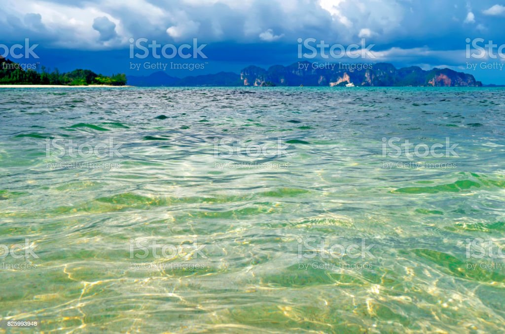 Emerald water of the Andaman Sea in the Ao Nang bay from Tup island stock photo