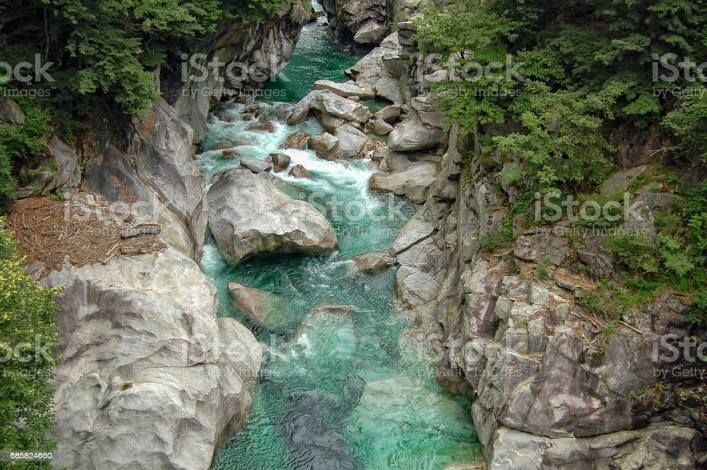 Emerald Water - Val Verzasca stock photo