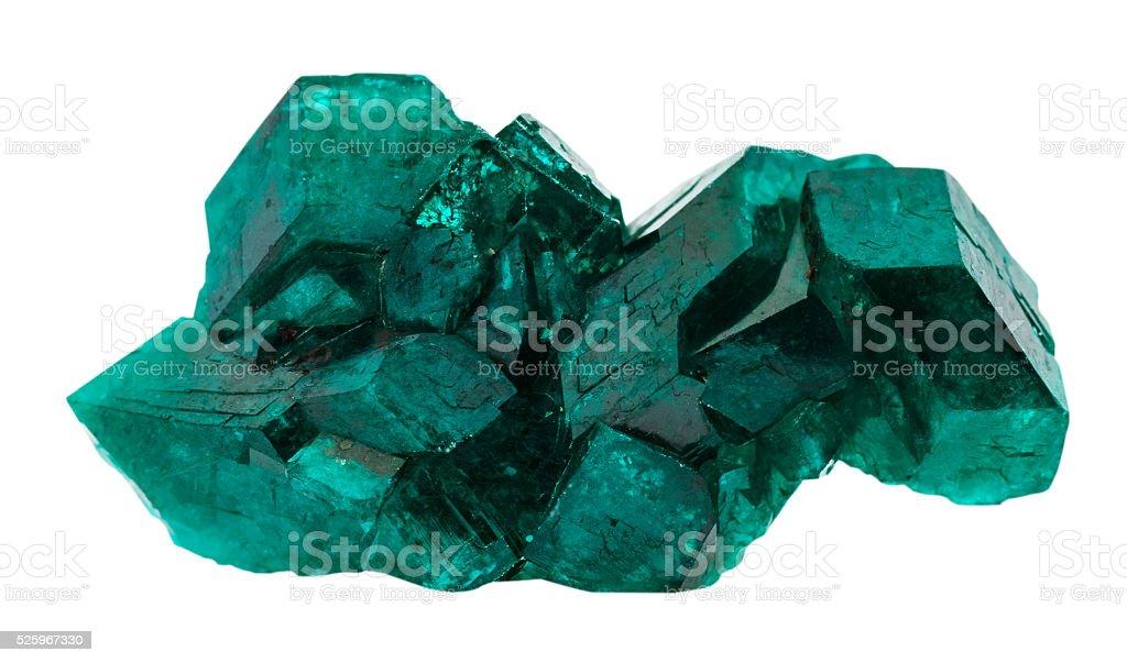 emerald-green dioptase gemstone isolated on white stock photo