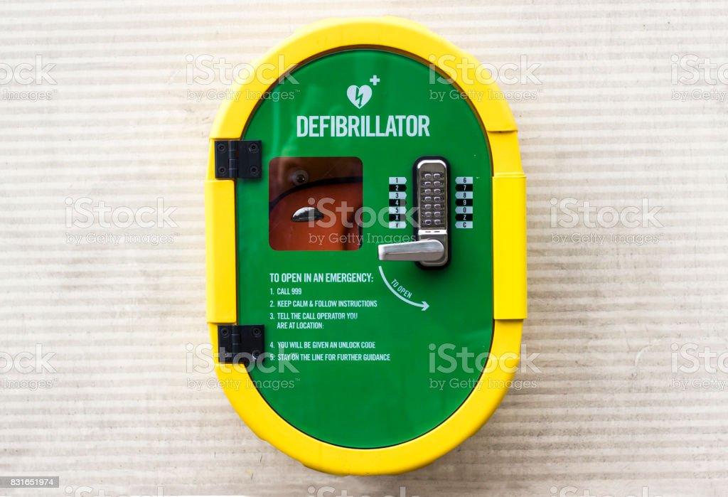 Emergancy defribulator mounted on an outside wall stock photo