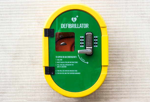 Worden defribulator gemonteerd op een buitenmuur foto