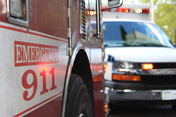 Emergency 911 Scene This is an emergency scene including both a fire engine and an ambulance. accidents and disasters stock pictures, royalty-free photos & images