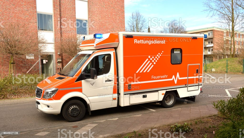 Emergency ambulance car arrived to the patient. stock photo