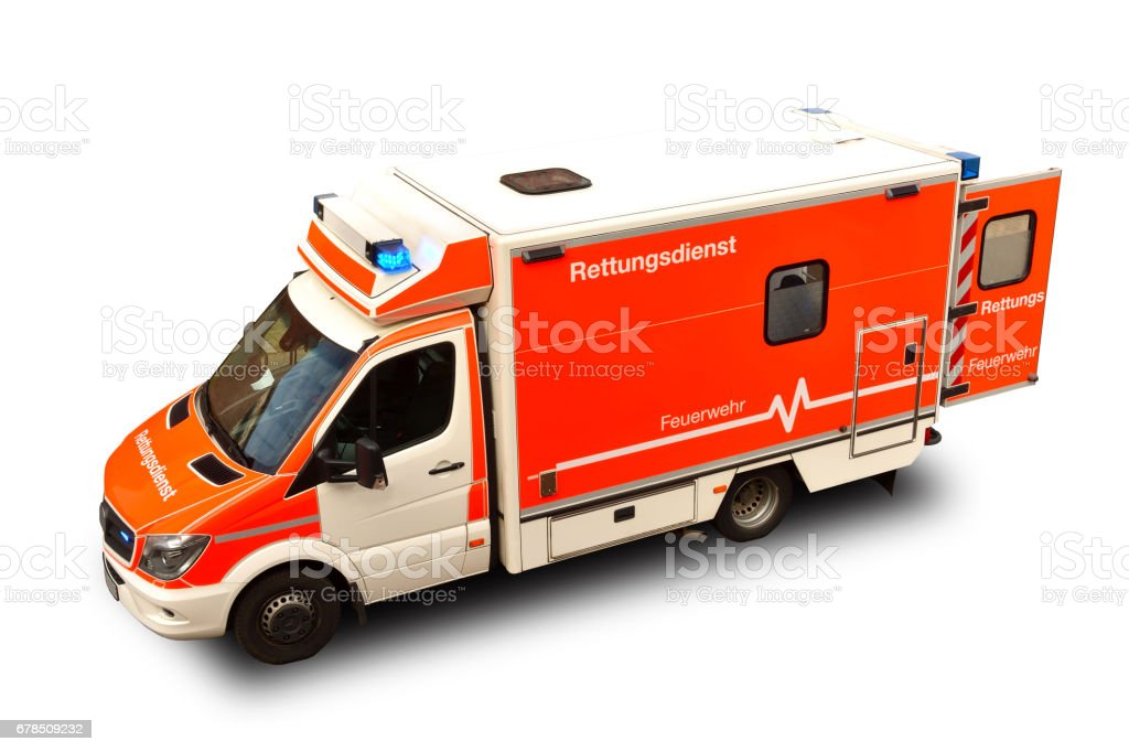 Emergency ambulance car (rettungswagen) Germany, Deutschland isolated on a white background.Top-to-top view. stock photo