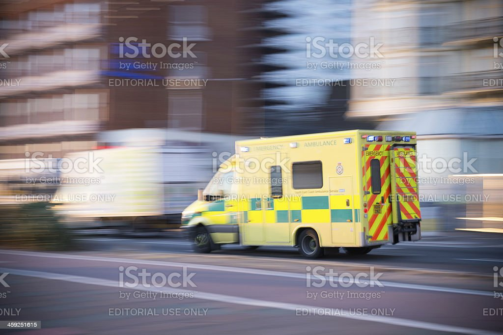 Emergency Ambulance car in Brighton, UK, motion blur stock photo