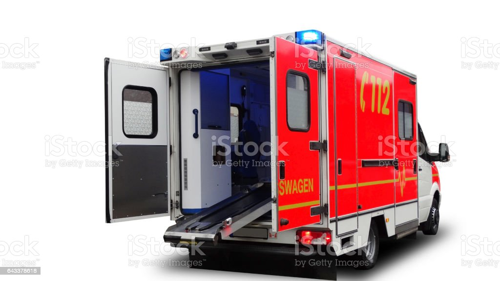 Emergency ambulance car with an open door isolated on a white background.Back view. stock photo