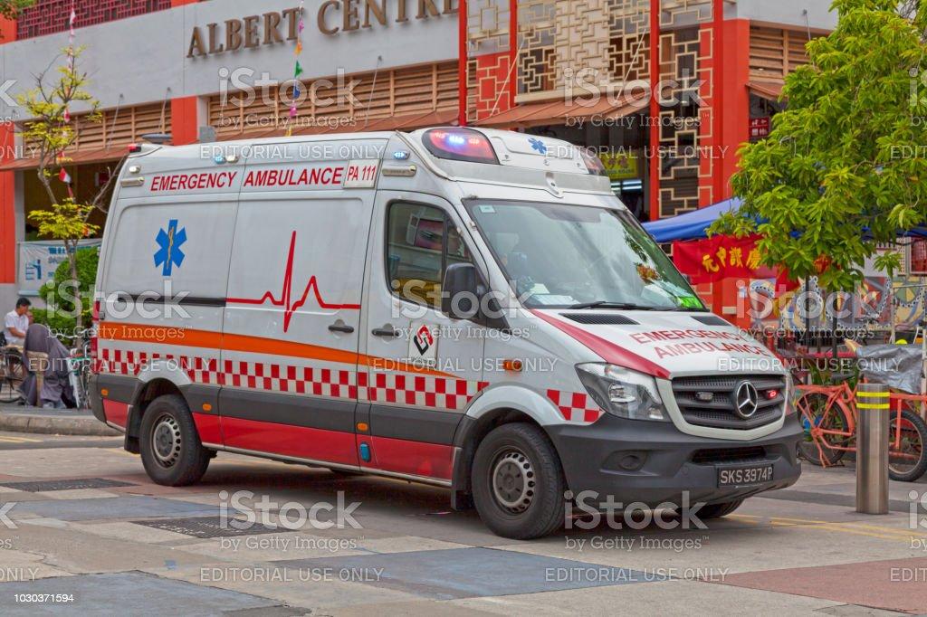 Emergency ambulance in Singapore stock photo