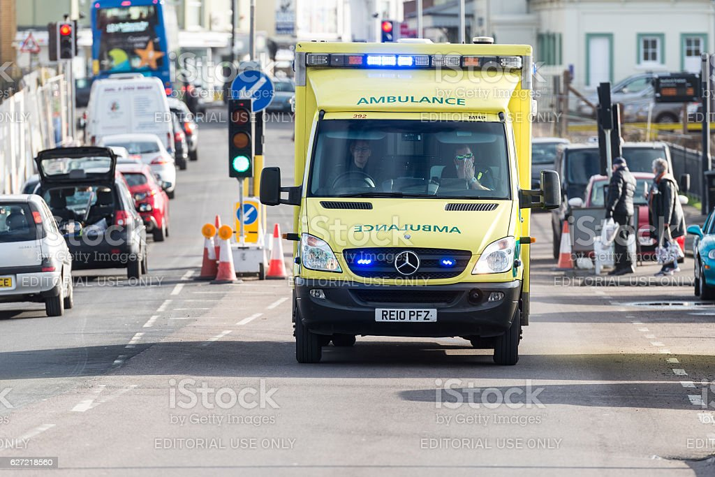 Emergency ambulance responding to a callout stock photo
