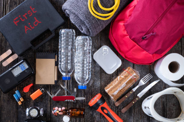 Emergency bag for earthquake Preparation for natural disasters concept accidents and disasters stock pictures, royalty-free photos & images