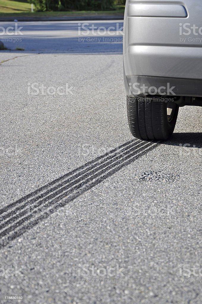 ABS Emergency braking tracks stock photo