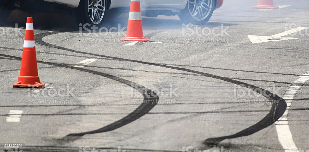 Emergency braking wheel with smoke on the road. stock photo