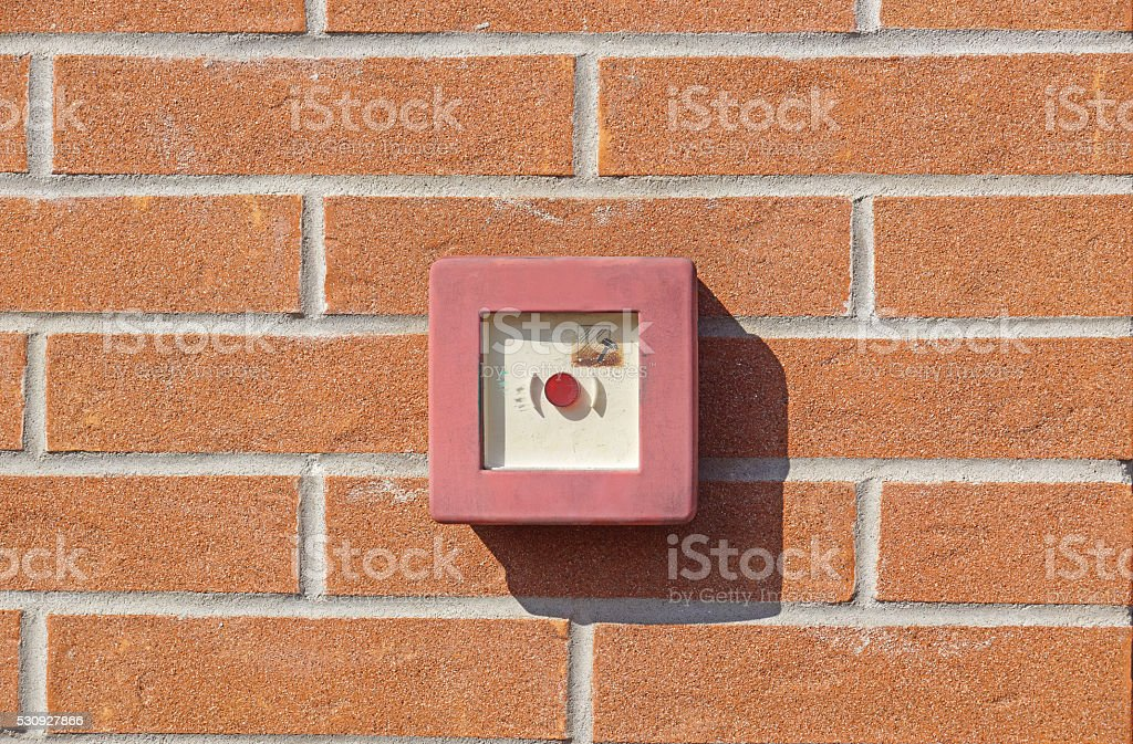 Emergency button Fire stock photo