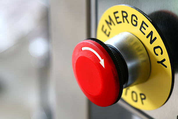 emergency button on the machine  emergency sign stock pictures, royalty-free photos & images