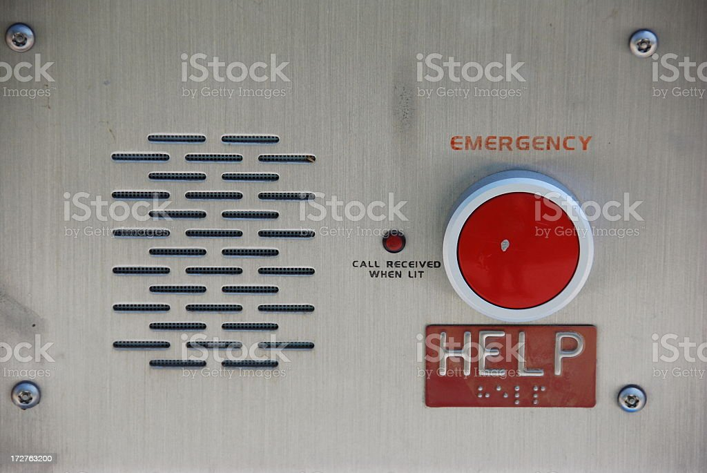 Emergency call box with red button stock photo