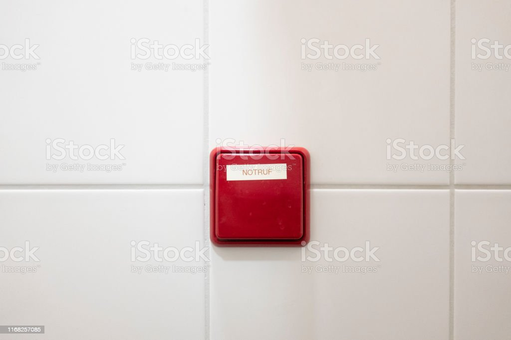 Emergency call button in a public toilet