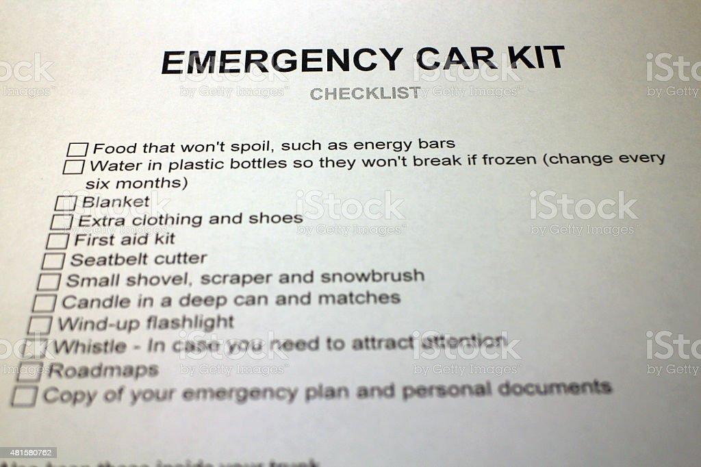 Emergency Car Kit Checklist Document stock photo