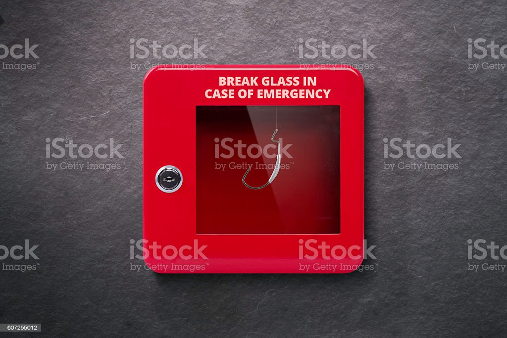 Emergency case with break away glass - foto de stock