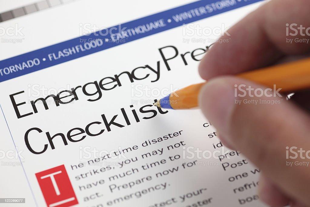 Emergency Checklist stock photo
